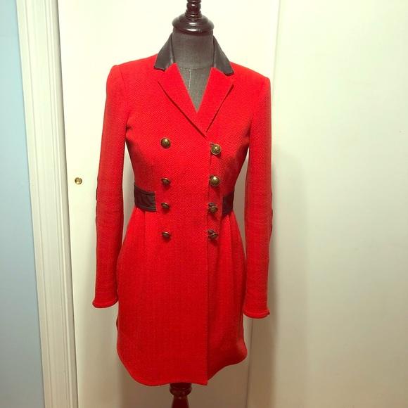 24d0c64f2de Diane Von Furstenberg Jackets   Blazers - Diane von Furstenberg red coat  black leather trim